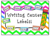 Colorful Chevron Writing Center Labels