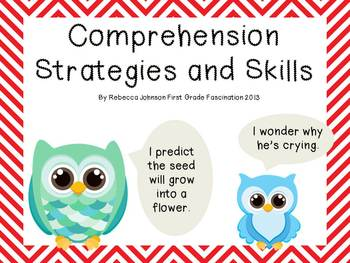 Colorful Chevron and Owl Reading Strategies and Skills posters