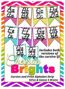 Colorful Chevron themed print and cursive Alphabet banner