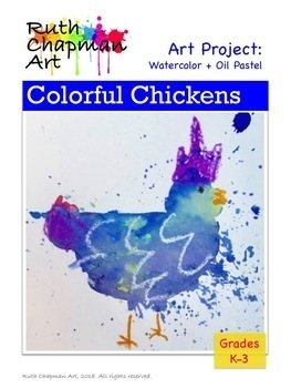 Colorful Chickens in Watercolor + Oil Pastel
