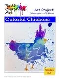 Colorful Chickens Art Lesson for Grades K-3