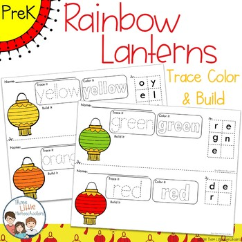 Colorful Chinese New Year Lanterns Trace Color and Build Writing Center Activity