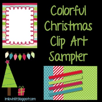 Colorful Christmas Clip Art FREEBIE for Personal or Commer