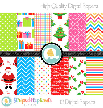 Colorful Christmas Digital Papers