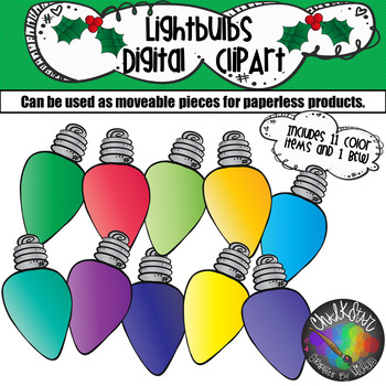 Colorful Christmas Lightbulbs Moveable PNG Graphics