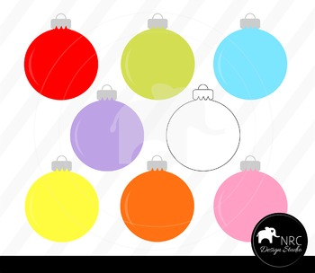 Colorful Christmas Ornaments Clip Art for Personal and Commercial Use