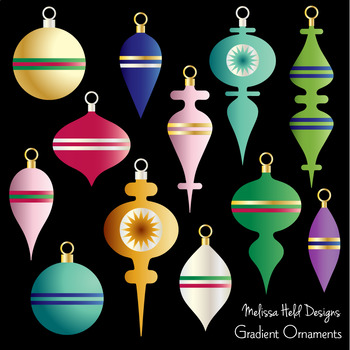Colorful Christmas Ornaments Digital Clipart