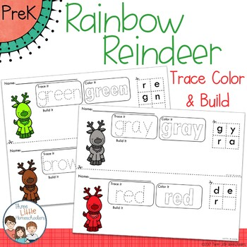Rainbow Christmas Reindeer Trace Color and Build - Writing Center Activity