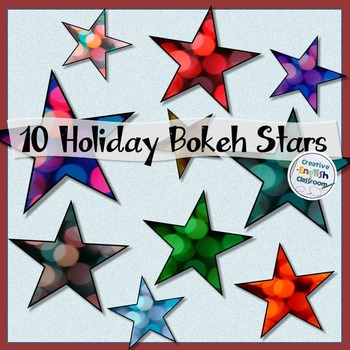 Christmas Star Clip Art -- 10 Colorful Bokeh Designs