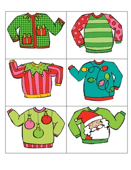 Colorful Christmas Sweaters: Adjectives (2 Center Activities)