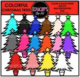 Colorful Christmas Trees Clip Art Bundle {Educlips Clipart}