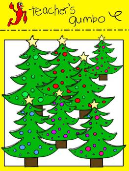 Colorful Christmas Trees, Ornaments and Presents Clipart