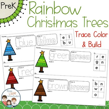 Colorful Christmas Trees Trace Color and Build - Writing Center Activity