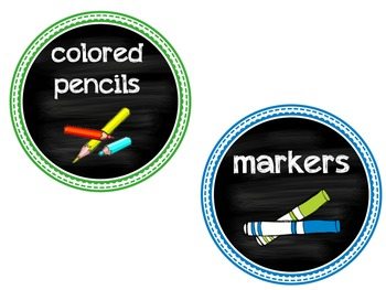 EDITABLE Colorful Circle Supply Labels