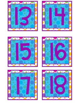 Calendar Numbers and Months-Colorful Circles