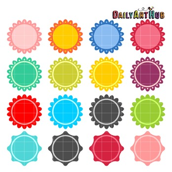 Colorful Circular Labels Clip Art - Great for Art Class Projects!