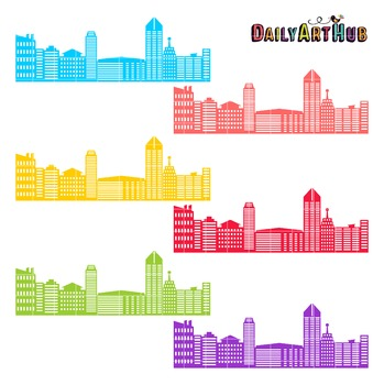 Colorful Cityscape Clip Art - Great for Art Class Projects!