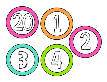 Colorful Class Numbers 1-25 **FREEBIE**
