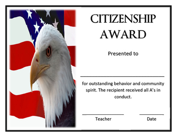 Colorful Classroom Citizenship Award