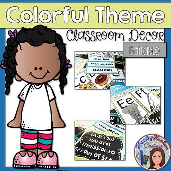 Colorful Classroom Decor Editable