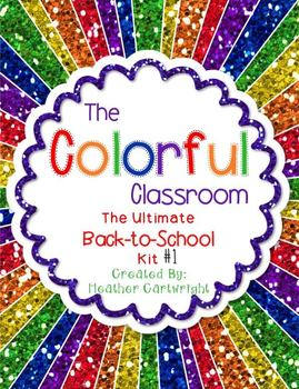 Colorful Classroom Decor Kit 1: Glitter and Chalkboard Themed