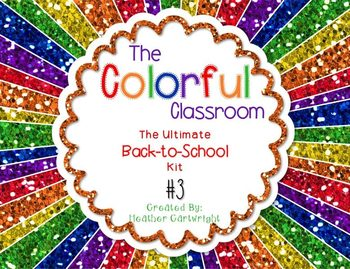 Colorful Classroom Decor Kit 3: Glitter and Chalkboard Themed