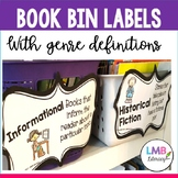 Book Bin Labels With Genre Definitions!  12 labels for classroom library!