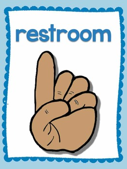 Colorful Classroom Hand Signal Posters