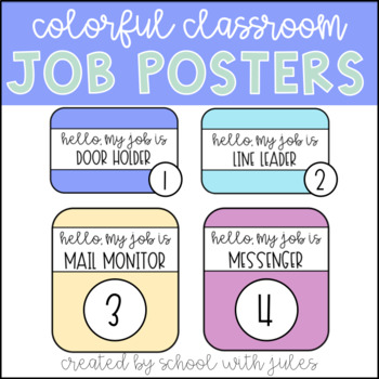 Colorful Classroom Job Posters (Editable Pages)