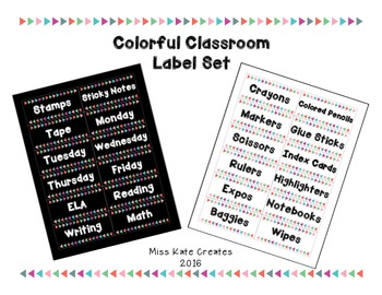 Colorful Classroom Labels (now editable!)