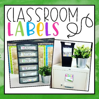 Colorful Classroom Labels (Adhesive Pockets from Target)