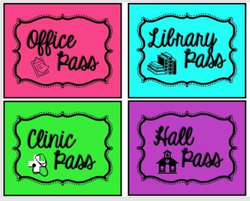 Colorful Classroom Passes (EDITABLE)