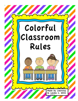 15 Bright Lined & Colorful Classroom Rule/Procedure Posters With Cute Graphics!