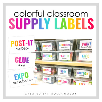 Colorful Classroom Supply Labels EDITABLE