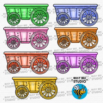 Colorful Clip Art   Wagons