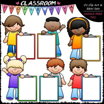 Colorful Clipboard Kids Clip Art - Kids With Clipboards