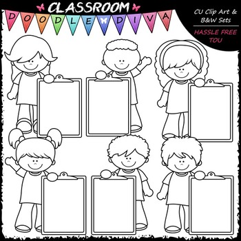 Colorful Clipboard Kids - Clip Art & B&W Set