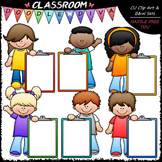 Colorful Clipboard Kids - Clip Art & B&W Set