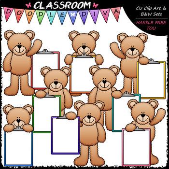 Colorful Clipboard Teddy Bears - Clip Art & B&W Set
