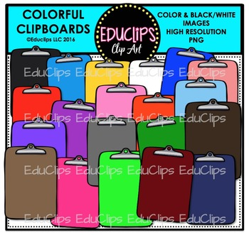 Colorful Clipboards Clip Art Bundle {Educlips Clipart}