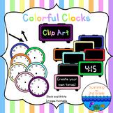 Colorful Clock Clip Art
