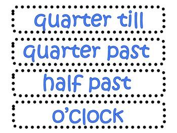 Colorful Clock Labels- Black/White Circle Dot background