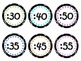 Colorful Clock Labels- Black/White Circle Dot background