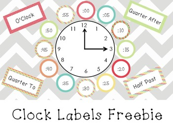 Colorful Clock Labels Freebie