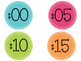 Colorful Clock Labels and Time Vocabulary