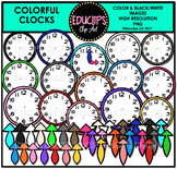 Colorful Clocks Clip Art Bundle {Educlips Clipart}