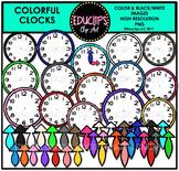 Colorful Clocks Clip Art Bundle {Educlips Clipart}