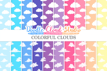 Colorful Clouds digital paper, Cloud patterns, Digital Clouds, sky day & night