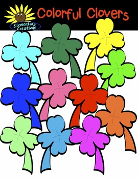 Colorful Clovers Clipart