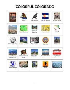 Colorful Colorado:  State Symbols and Images Bingo